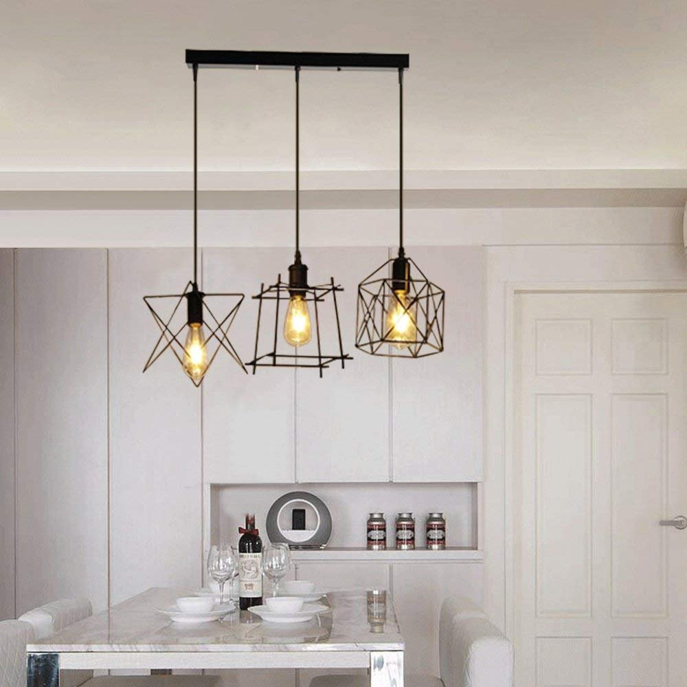 NIUYAO Antique Metal Cage Pendant Lighting Chandelier Rustic Kitchen Linear Island Light 3 Lights
