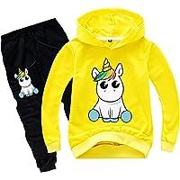 Silver Basic Chándal de Manga Larga para Niñas Sudadera con Capucha y Pantalones de Unicornio Conjunto de 2 Piezas…