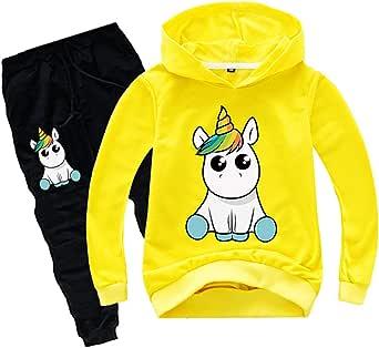 Silver Basic Chándal de Manga Larga para Niñas Sudadera con Capucha y Pantalones de Unicornio Conjunto de 2 Piezas Sudadera para Niños