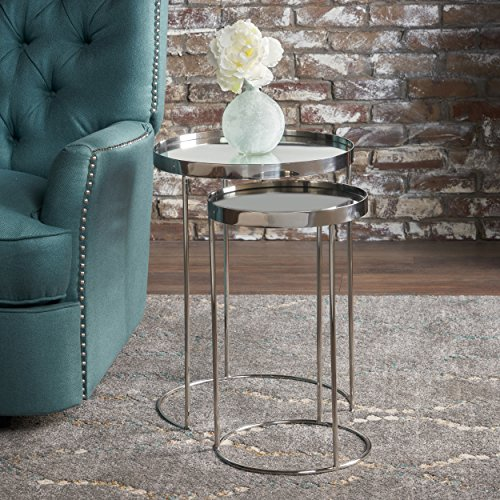 Christopher Knight Home Maridel Set Of 2 Nested Tables, Clear/Stainless