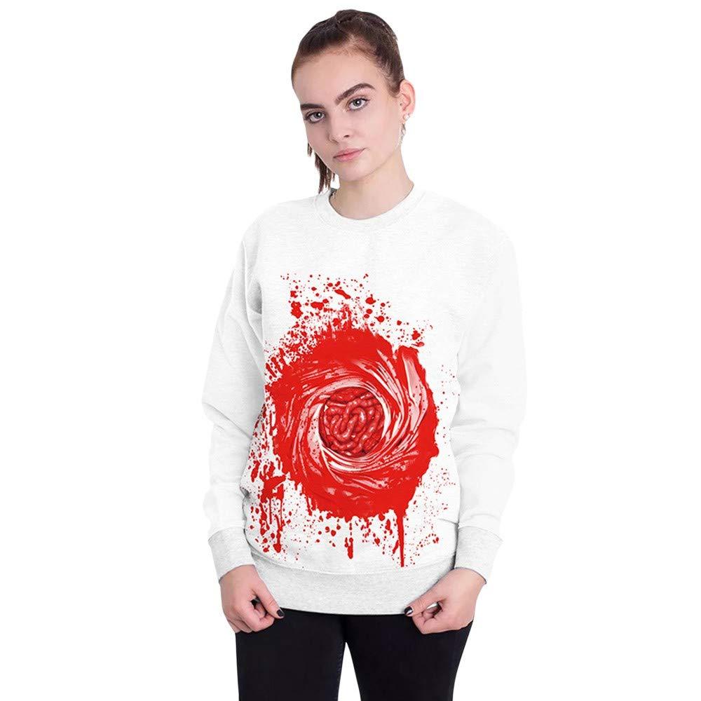 kaifongfu Women's Halloween Sweatshirt 9D Print Spider Web Ladies Pullover Top(White,M)