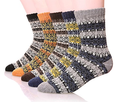 Mens Wool Socks Thick Heavy Thermal Fuzzy Warm Winter Crew Socks For Cold Weather 5 Pairs ()