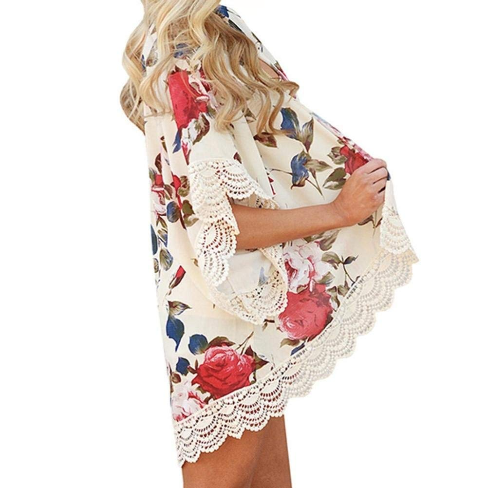 Go-First Womens Beach Cardigan Summer Leisure Elegant Chiffon Ethnic Swimsuit Shawl with Personality Lace Classic Cozy Loose Lightweight Bohemia Temperament Swing Dress (Color : Beige, Size : XL) by Go-first Women Swimwear Cover Ups (Image #6)