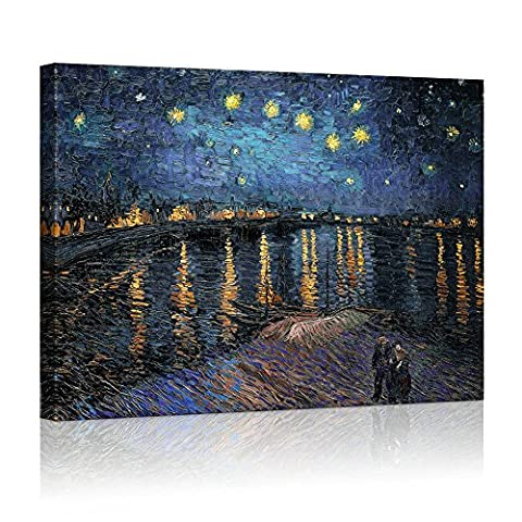 YIMEI-ART 24'' x 31'' Canvas Print Wall Art - Starry Night over The Rhone by Vincent Van Gogh Reproduction on Canvas Stretched Paintings . Ready to - Quality Interior Latex Paint Semi