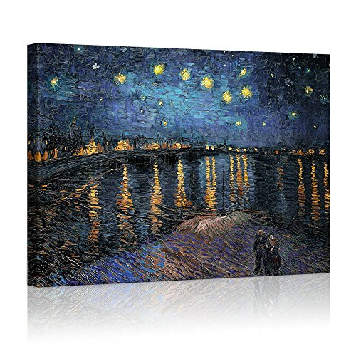 [YIMEI-ART 24'' x 31'' Canvas Print Wall Art - Starry Night over The Rhone by Vincent Van Gogh Reproduction on Canvas Stretched . Ready to] (Vincent Van Gogh Starry Night Costume)