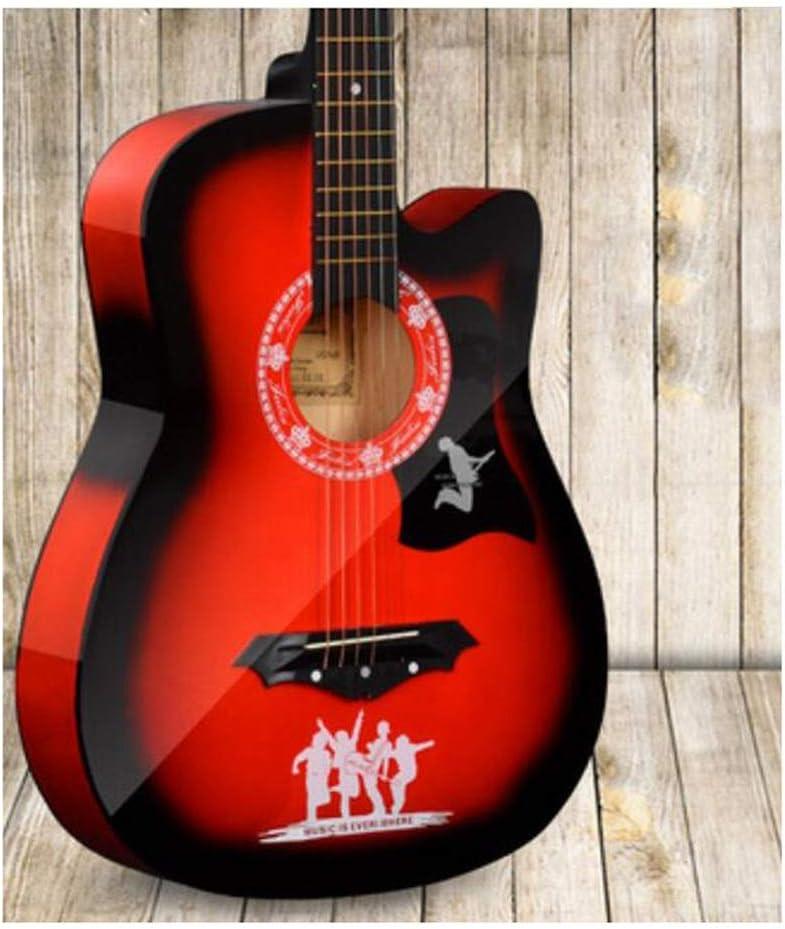 BAIYING Guitarra Acústica Guitarra Folk Country Práctica Estudiantil 38 Pulgadas Instrumentos Acústicos Puesta En Escena Tono Ajustable con Mochila, 7 Colores (Color : Red, Size : Long-96cm)