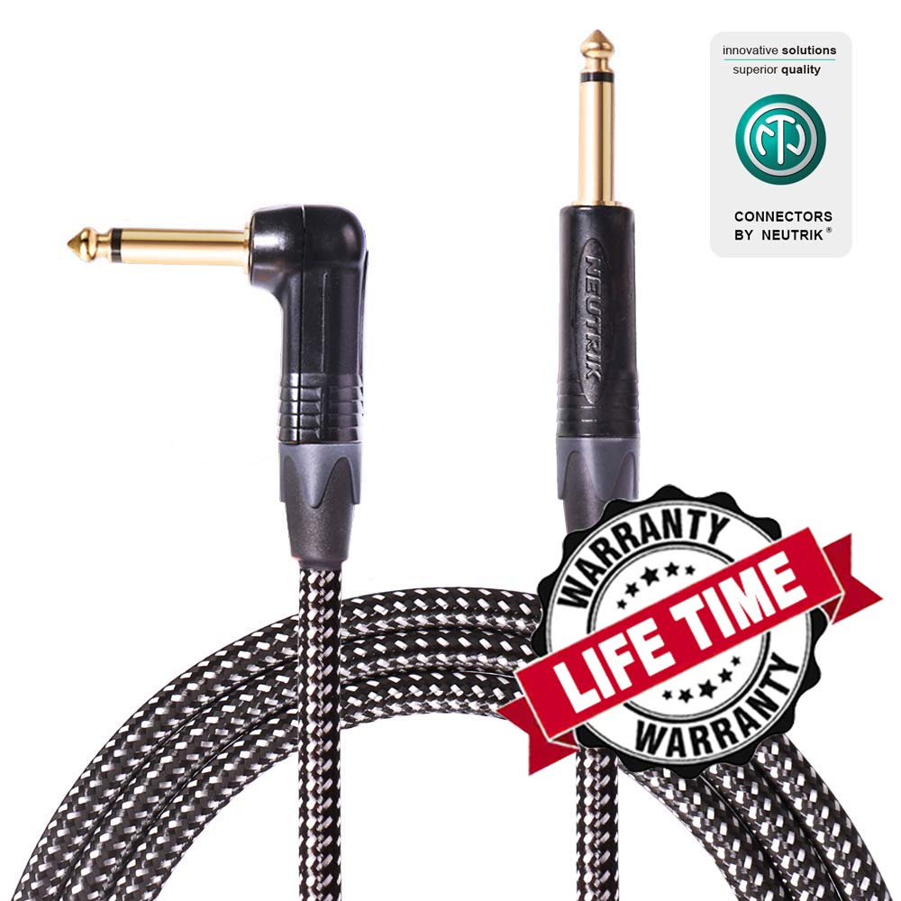 SPEAKFRIENDS Guitar Instrument Cable, 20 Ft - Original Neutrik 1/4'' Straight to Right Angle Electric Guitar Cord with Gold Plugs, Black/Silvery Tweed