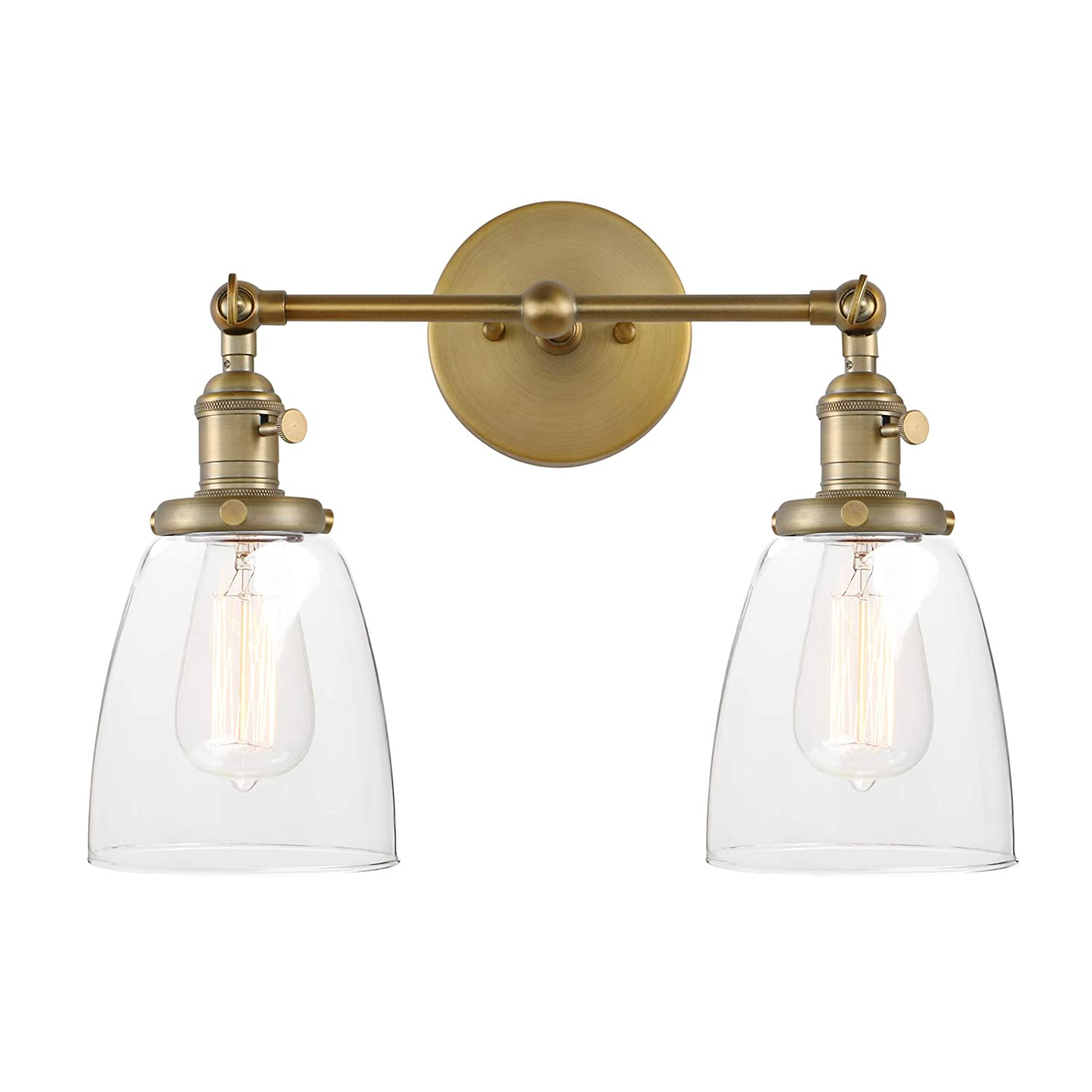 Pathson 2 light wall sconce vintage style industrial bathroom lighting fixtures with oval cone clear glass shade dark steel finished antique amazon
