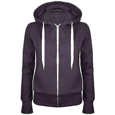 20d95fd441e8 Up Town Veste sweat-shirt à capuche et fermeture Éclair pour femme Coloris  uni  Amazon.fr  Vêtements et accessoires