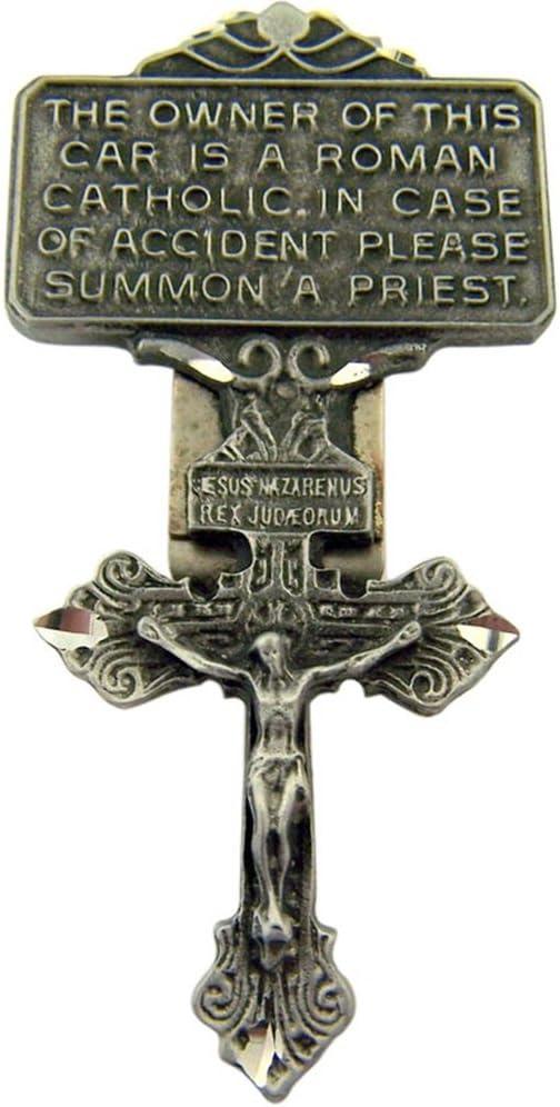 WJH Pewter Pardon Cross Crucifix Visor Clip 2 7//8 Inch