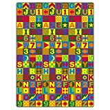 Flagship Carpets FE148-70A Floors That Teach Activity Rug, Ideal for Circle Time and Other Activities, Children's Classroom Educational Carpet, 12' x 12', 144'' Length, 144'' Width, Multi-Color