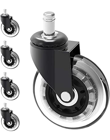 Castors Home Office Chair Swivel Replacement Heavy Duty Castor Wheels Unit Black with White Set of 5 2New Type 10X22mm
