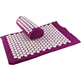 BAOBLADE Trigger Point Spiky Reflexology Acupressure Pillow Mat Set Acupuncture Massage Cushion + Mat + Storage Travel Carry Bag - Purple, as described