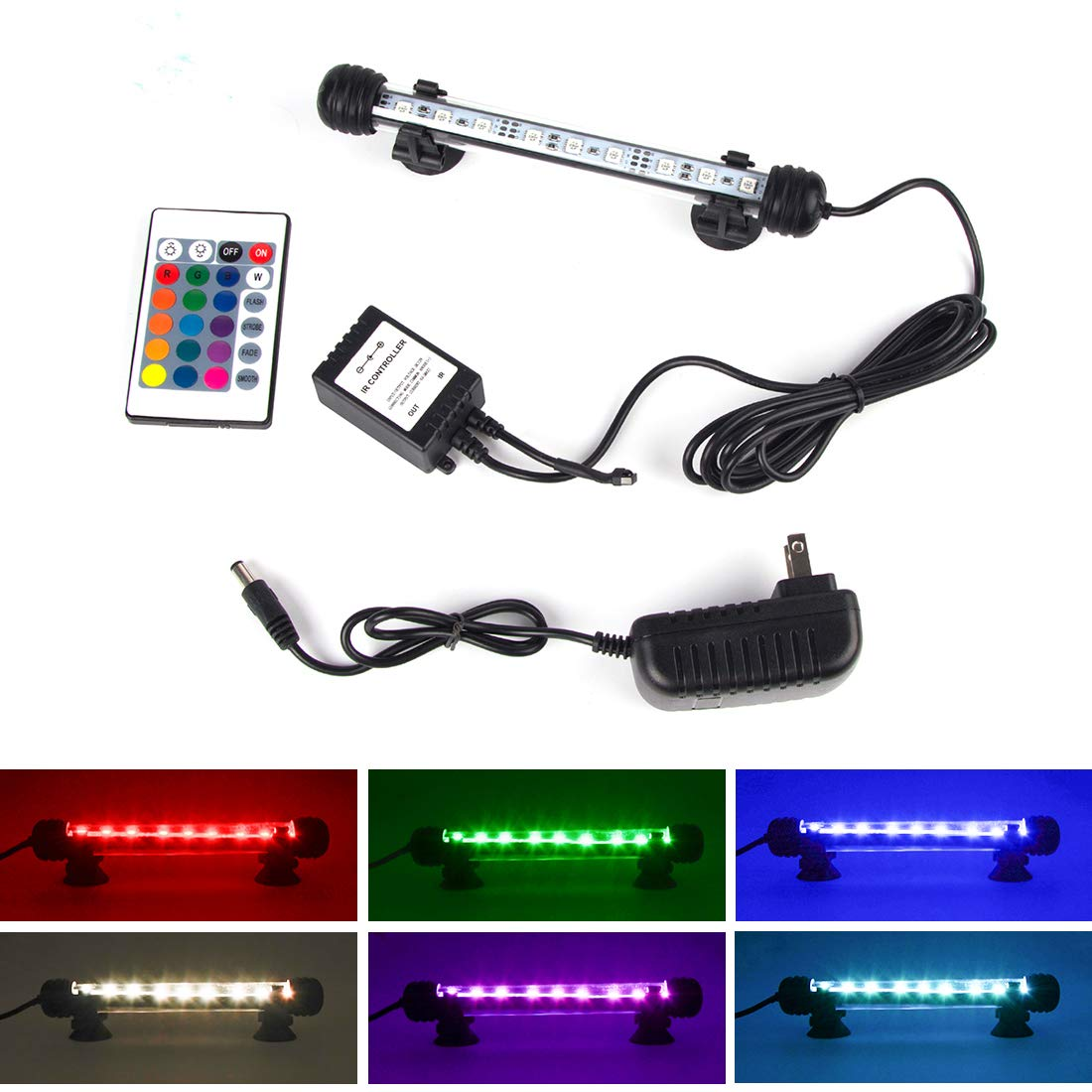 LED Aquarium Light, Smiful Fish Tank 16 Color 4 Modes RGB Lights Submersible Underwater Crystal Glass Lights with Wireless Remote Control, 7.5'' - Multi Color (Colorful)