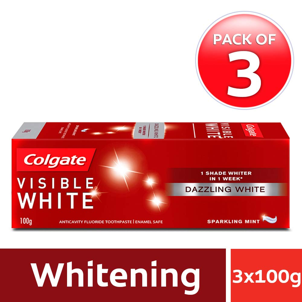 Colgate Visible White Sparkling Mint Toothpaste - 100 g (Pack of 3)