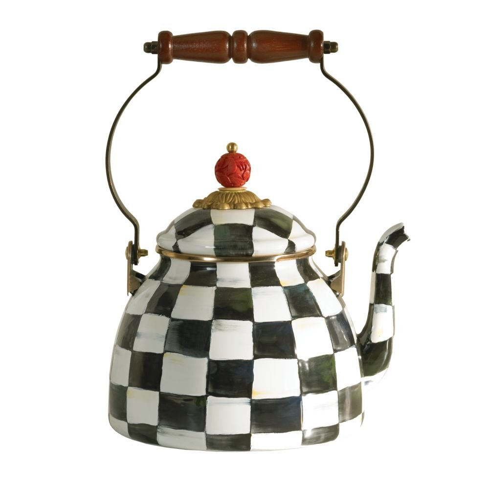 MacKenzie-Childs Courtly Check Enamel Tea Kettle 2 Quart by MacKenzie-Childs