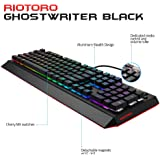 RIOTORO Ghostwriter Cherry MX Black Mechanical Keyboard with Customizable Prism RGB, 1ms Response Time, NKRO, and Dual USB Ports. Includes 2 Magnetic Detachable Wrist Rest