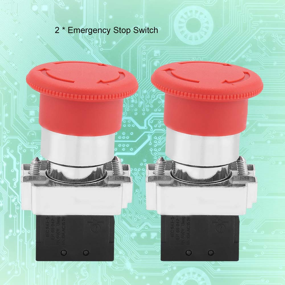 Emergency Stop Switch Red Sign Emergency Stop Push Button 22MM XB5 Pack of 2