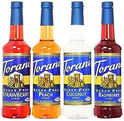 Torani Sugarfree Syrup Variety Pack, Soda Flavors, 4 Count, Sf Strawberry, Sf Peach, Sf Coconut & Sf Raspberry
