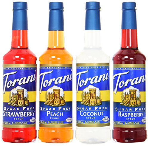 - Torani SugarFree Syrup Variety Pack, Soda Flavors, 4 Count, SF Strawberry, SF Peach, SF Coconut and SF Raspberry