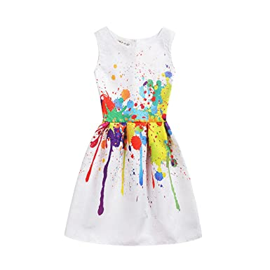 548fe775885d Image Unavailable. Image not available for. Color  Girls Dress Kids  Sleeveless Casual Cotton Sundress Summer Girl Swing Party Dresses ...