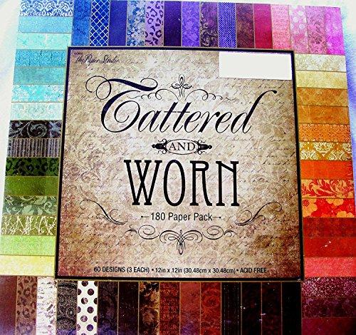 Tattered & Worn 12x12 Scrapbooking Paper Pack, 180