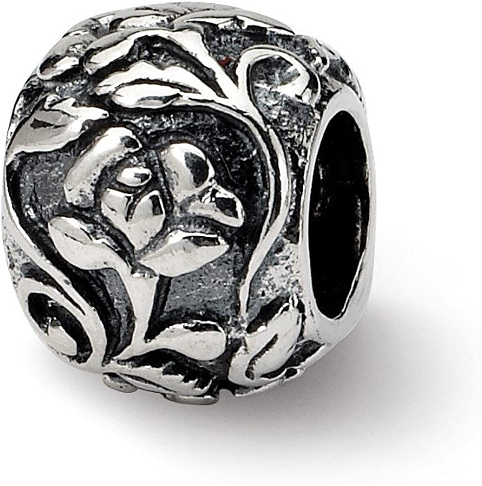 Black Bow Jewelry Sterling Silver Flower and Vine Bead Charm