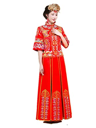01fd53104 Amazon.com: Show Wo Dress Chinese Bridal costume Chinese wedding dress  Traditional bride wedding dress Wedding cheongsam Toast dress: Clothing