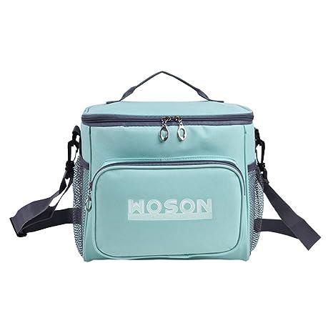 WOSON Bolsa Térmica Porta Alimentos Nevera Portátil para Enfriamiento Alimentos Almuerzo Lunch Bag (10.3L-Blue)