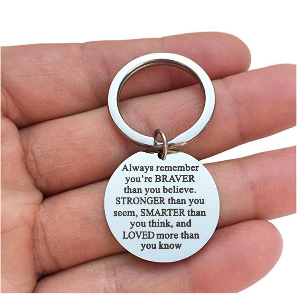 Inspirational Keychain with Words - Always Remember You are Braver Than You Believe, Stronger, Smarter - Novelty Funny Cool Stainless Steel Key Chains, Gift for Friends Families and Lover (Round)