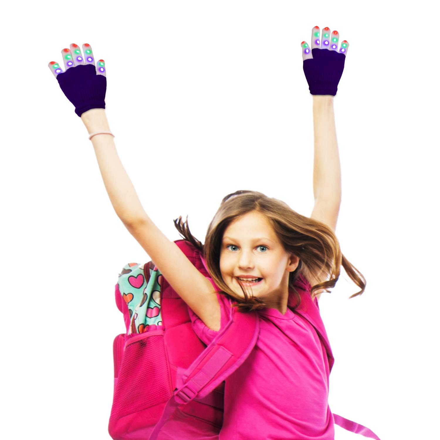 LED Gloves, Light Up Hand Gloves, Flashing Fingers Colourful Rave Gloves 6 Modes Glow for Festivals/ Halloween/ Christmas/ Bonfire Night/ Party/ Games/ Gift, Small Size Kids(5-10 yrs Purple)