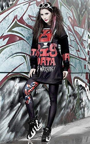 Ragazze Skinny Eleganti Tuta Leggings Hip Sportivi Donna Tempo Per Hop Pattern Moda Pantalone Festa Style Matita Stile Colour 2 Pantaloni Stampato Libero Elastico qqORFz