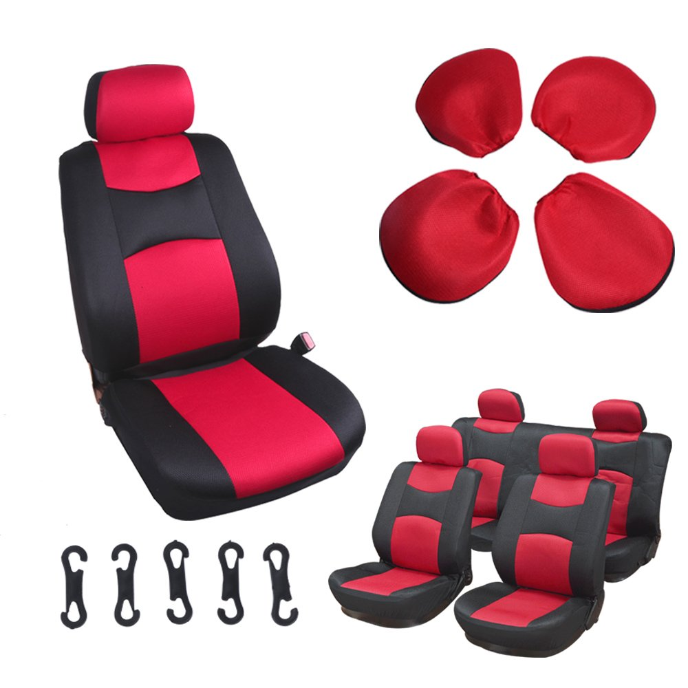 SCITOO Universal Red/Black Car Seat Cover w/Headrest 8Pcs Breathable Mesh Cloth Retractable by Scitoo