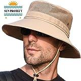 サファリハット 帽子 メシュ通気構造 通気性抜群 つば広 日焼け防止 紫外線対策 アウトドア 折りたたみ あごひも付き 男女兼用