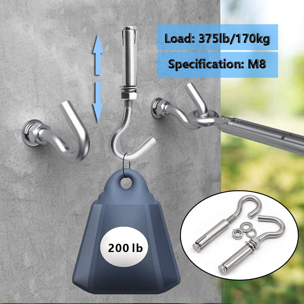 Expansion Hook 5, M10 Lsquirrel M8 304 Stainless Steel Open Cup Hook Expansion Bolts Heavy Duty Hook for Wall Concrete Brick Silver