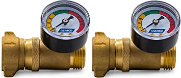 Amazon Com Camco Brass Water Pressure Regulator With Gauge Helps Protect Rv Plumbing And Hoses From High Pressure City Water Easy Read Gauge Lead Free 40064 2 Pack Automotive