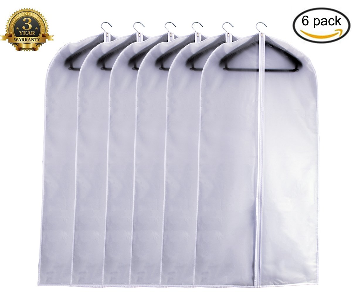 Garment Bag Clear, Dust Bags Cover Moth Proof for Clothes Storage Suits Dress Dance Zippered Breathable Pack of 6