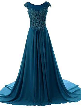 JAEDEN Womens Cap Sleeves Long Chiffon Lace Evening Gown Prom Dresses Jade US6