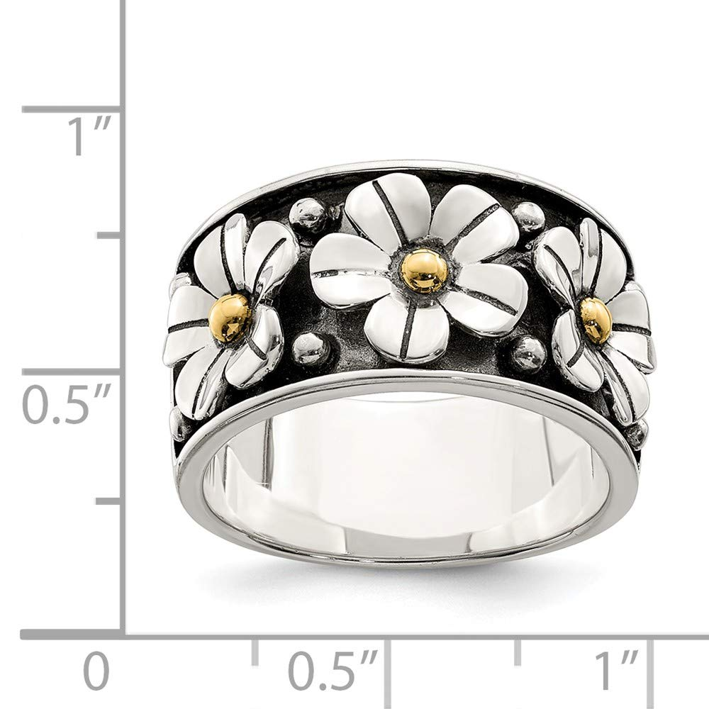 Mia Diamonds Sterling Silver Antiqued with 14k Gold Centers Daisy Ring
