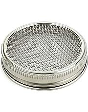 Kit de tapa de tarro de germinador de semillas de malla curva de acero inoxidable para hacer semillas de brote orgánicas en interiores para tarro de enlatado de boca ancha 1set As Picture Show