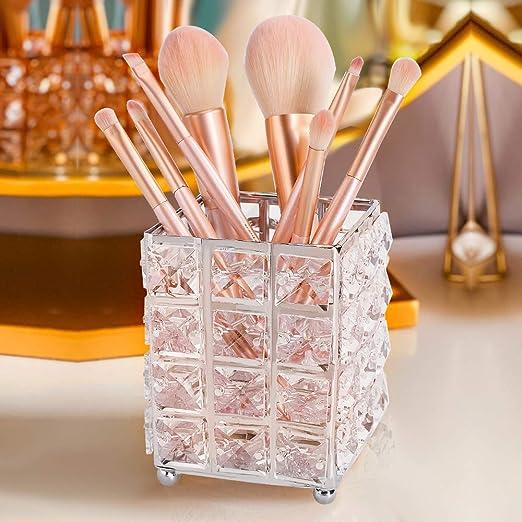 kosmetische Werkzeuge Lagerung Organizer f/ür Waschtisch Kristallpinsel Stift Bleistift Sammlung Halter B/üro Pwerking Make Up Pinsel Halter Netzform Gold Schlafzimmer