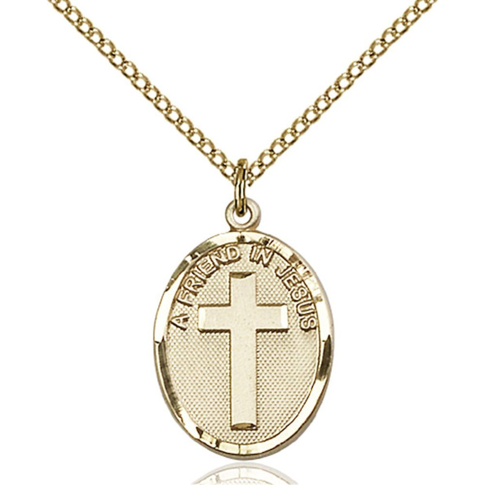 Gold Filled Women's A FRIEND IN JESUS Pendant - Includes 18 Inch Light Curb Chain - Deluxe Gift Box Included