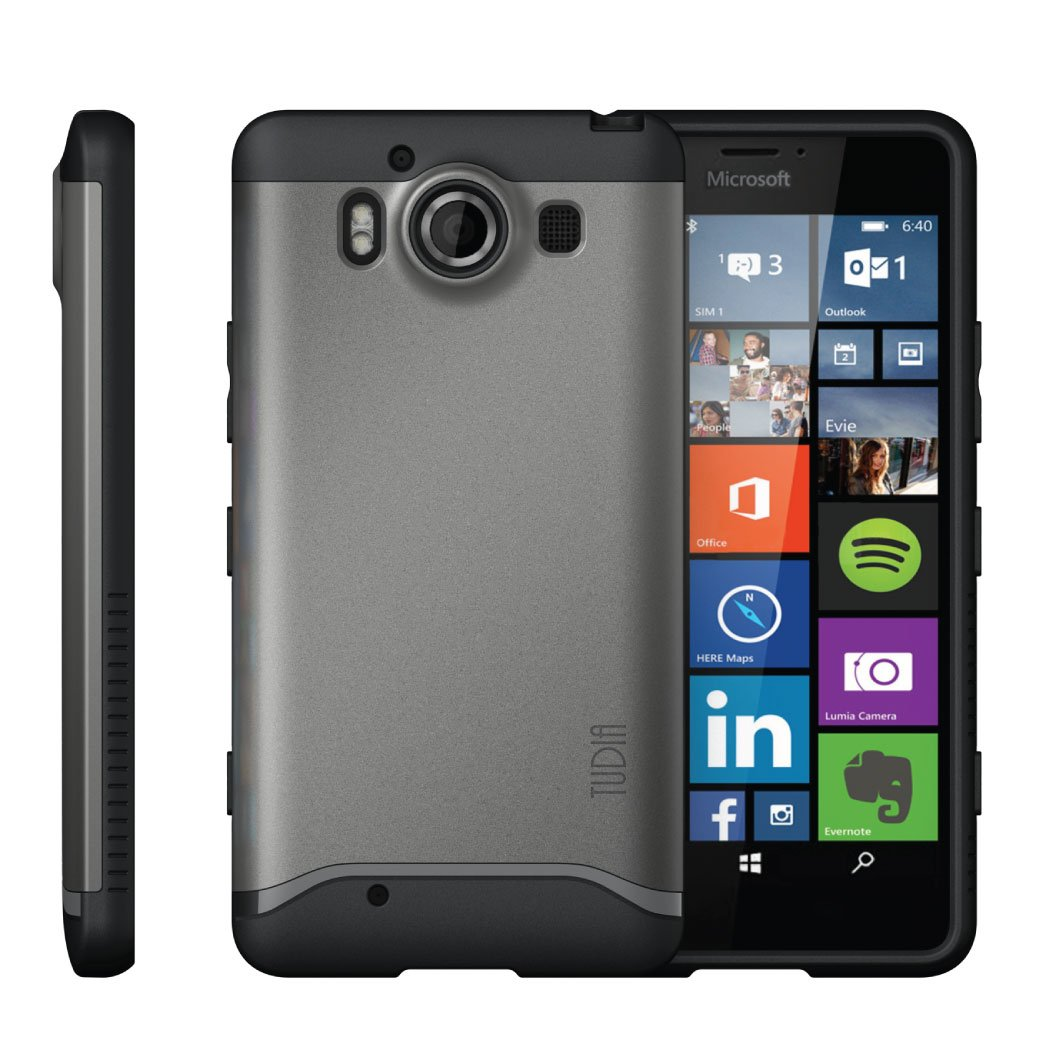 TUDIA Slim-Fit Merge Dual Layer Protective Case for Microsoft Lumia 950 (Metallic Slate)