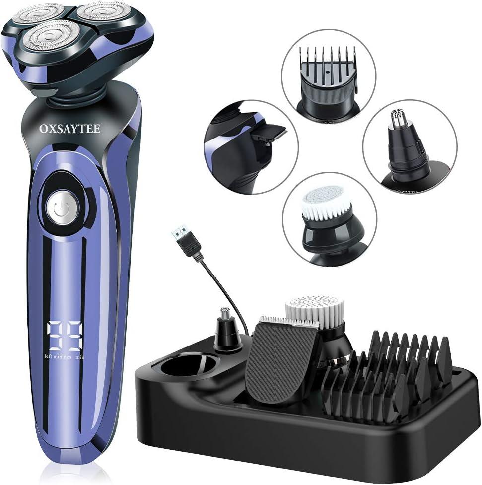 Afeitadora Electrica 4D Afeitadora Para Hombre Seco Y En Húmedo Afeitadora Rotativa Impermeable IPX7, Máquina Afeitar Inteligente Display Digital, Con Cepillo Facial y Recortador de Barba/Nariz