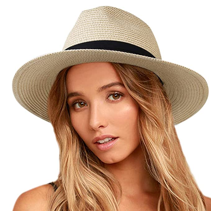 d2be37e4a38ca Womens Wide Brim Straw Panama Hat Fedora Summer Beach Sun Hat UPF50 Cream