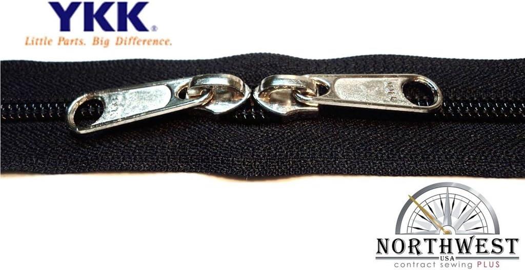 YKK Nylon Coil Zipper Tape # 8 White 1 yard with 2 Nickle Zipper Sliders