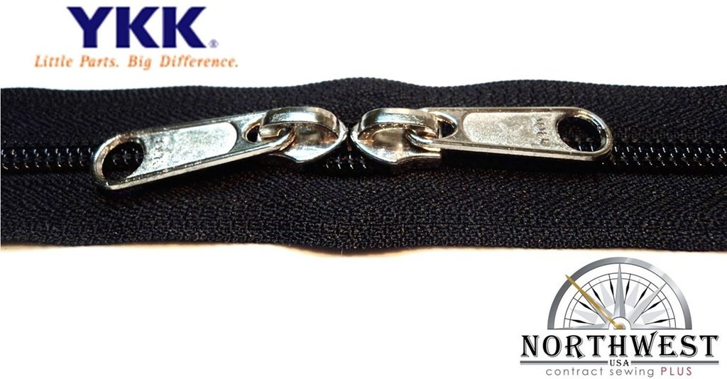 YKK #5 CN Zipper coil chain. Each yard comes with 2 sliders. (Black, 25 yard, 50 nickel sliders) by YKK