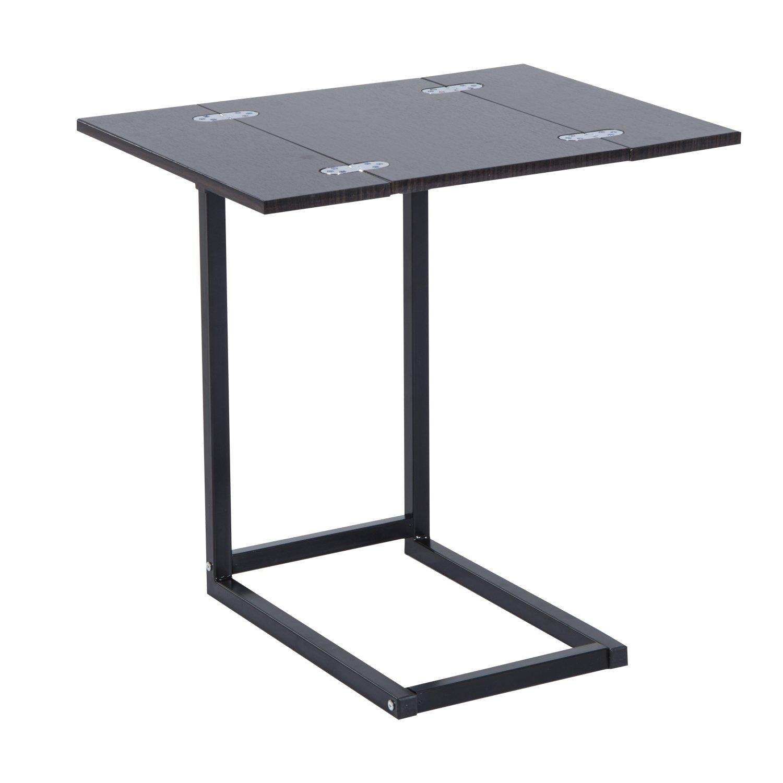 HomCom 833-061 Expanding Snack Table Folding Tray Laptop Holder Modern Walnut Aosom Canada