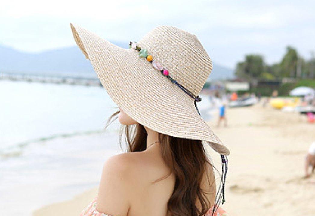 Leisial Femme Capeline Melon Paille Chapeau Bob Casquette visi/ères de Paille Anti-Soleil Respirant Anti UV pour /ét/é Plage Loisir Voyage