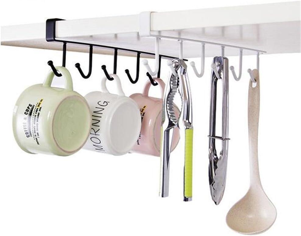 Kitchen Under Cabinet Towel Cup Hanger Rack Organizer Storage Shelf Holder Hook